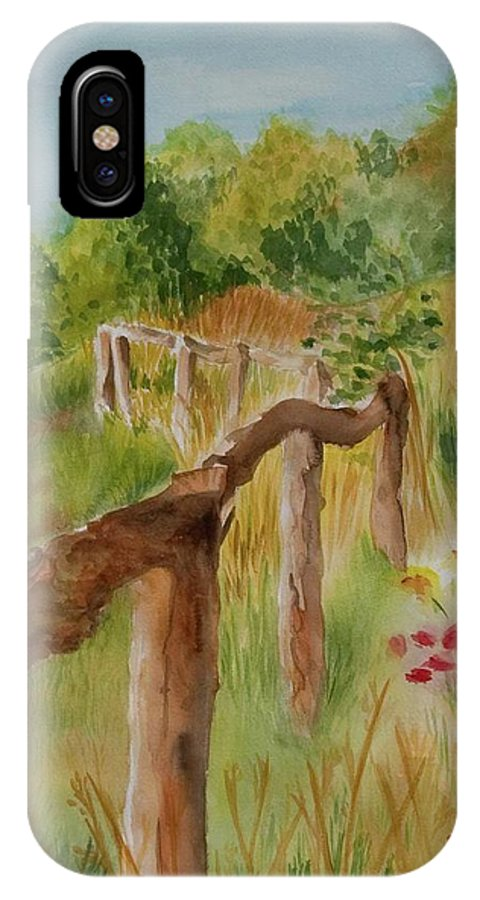 Apple Orchard IPhone X Case featuring the painting North Carolina Apple Orchard by Judy Swerlick