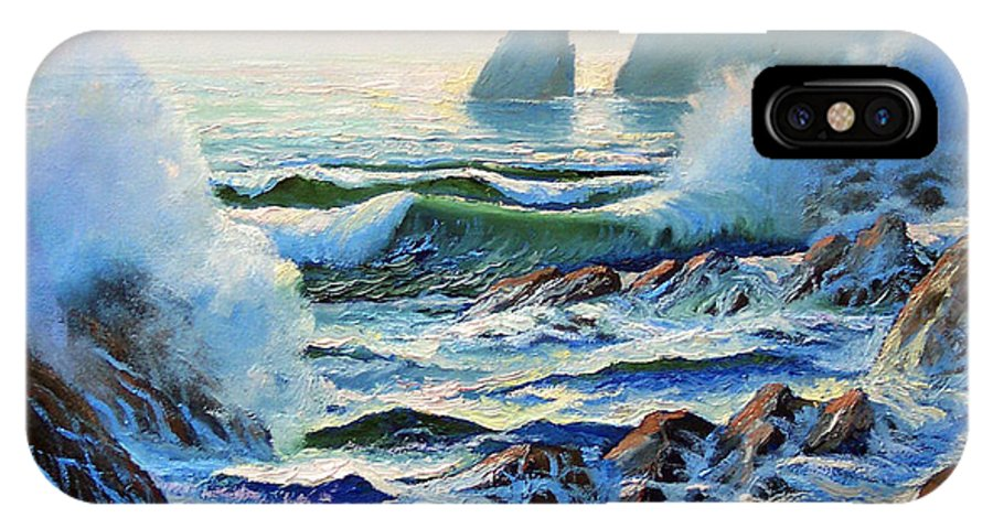 Seascape IPhone X Case featuring the painting North Coast Surf by Frank Wilson