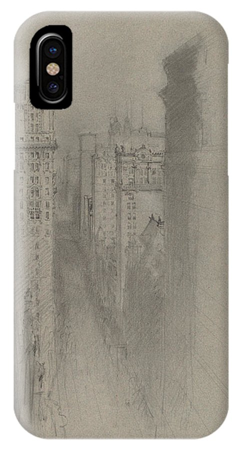 IPhone X Case featuring the drawing North On Broadway From Trinity Church by Stanford White