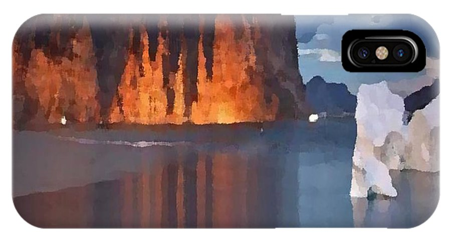 North.rock.iceberg.sea.sky.clouds.cold.landscape.nature.rest.silence IPhone X Case featuring the digital art North Silence by Dr Loifer Vladimir