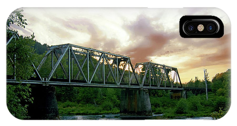 Mostly Cloudy IPhone X Case featuring the photograph North Umpqua Crossing by Edmund Mazzola