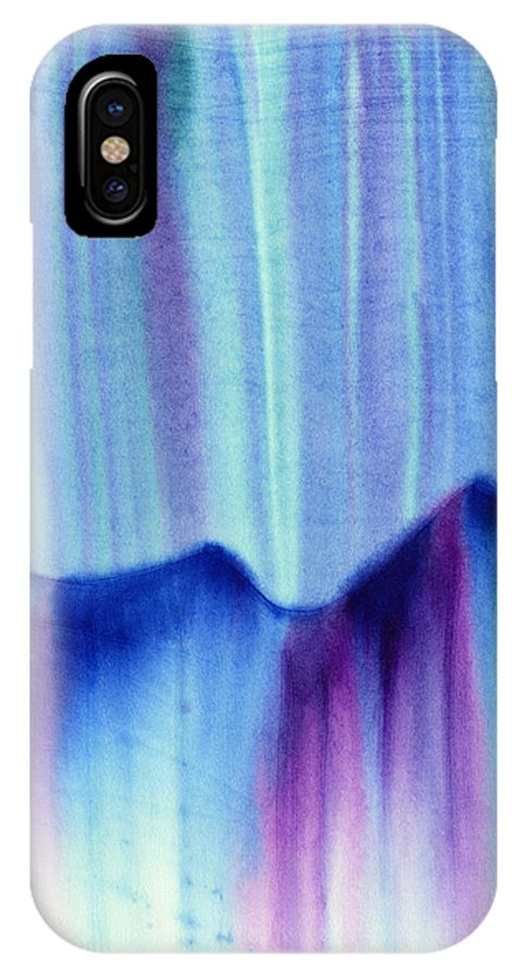 Abstract IPhone X Case featuring the painting Northern Mountain Lights by Hakon Soreide