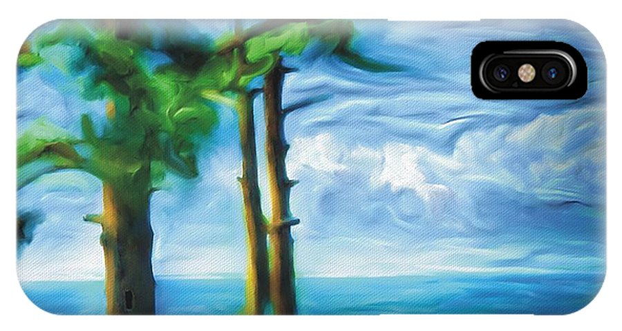 Landscape IPhone X Case featuring the painting Northern Ontario by Bob Salo