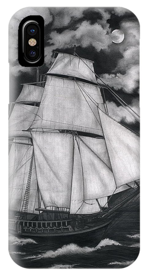 Ship Sailing Into The Northern Winds IPhone X Case featuring the drawing Northern Winds by Larry Lehman