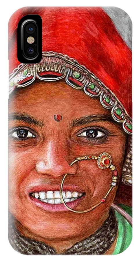 Woma IPhone Case featuring the painting Northindian Woman by Nicole Zeug