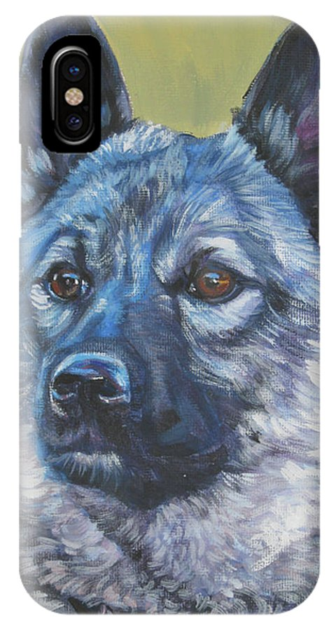 Norwegian Elkhound IPhone X Case featuring the painting Norwegian Elkhound by Lee Ann Shepard