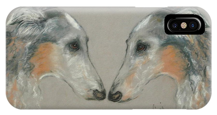 Dog IPhone X Case featuring the drawing Nose To Nose by Cori Solomon