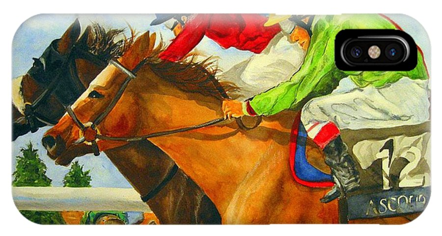 Horse IPhone X Case featuring the painting Nose To Nose by Jean Blackmer