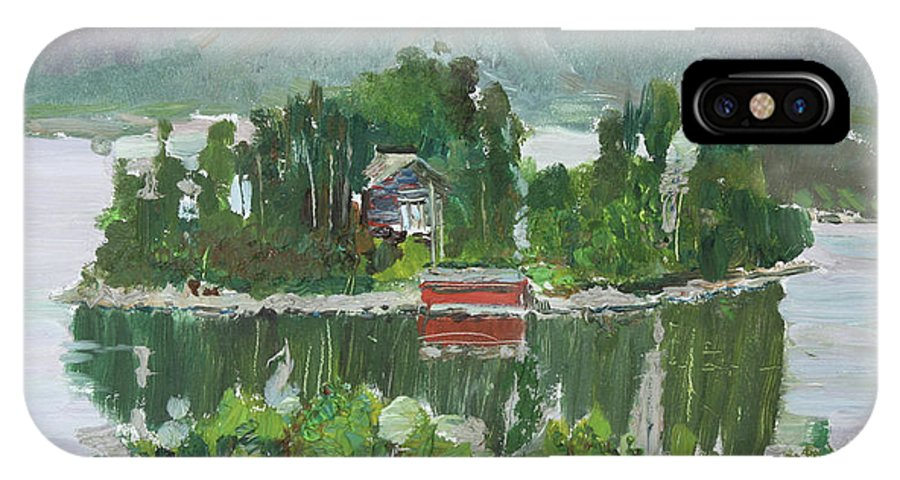 Norway IPhone X Case featuring the painting Nothagen Island Scenery by Andrei Belevich
