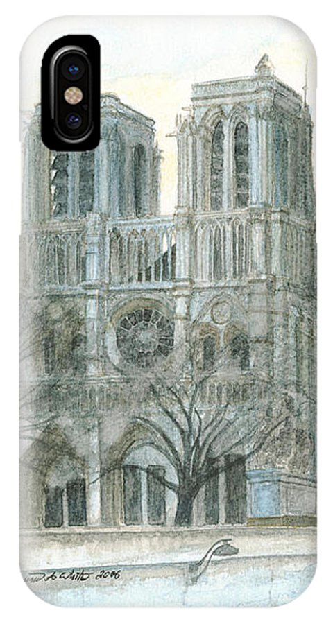 Notre Dame IPhone X Case featuring the painting Notre Dame Cathedral In March by Dominic White