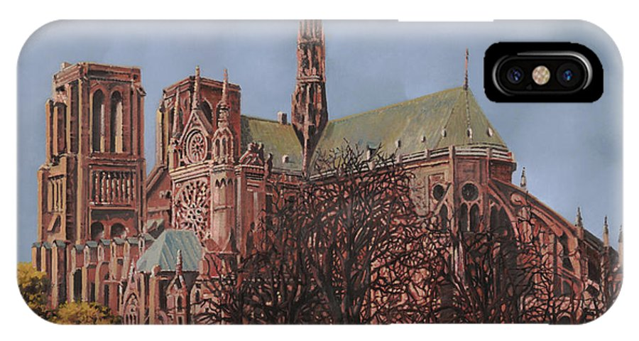 Paris IPhone X Case featuring the painting Notre-dame by Guido Borelli