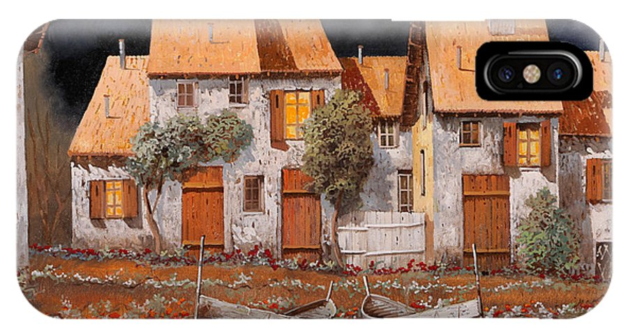 Houses IPhone X Case featuring the painting Notte Di Luna Piena by Guido Borelli