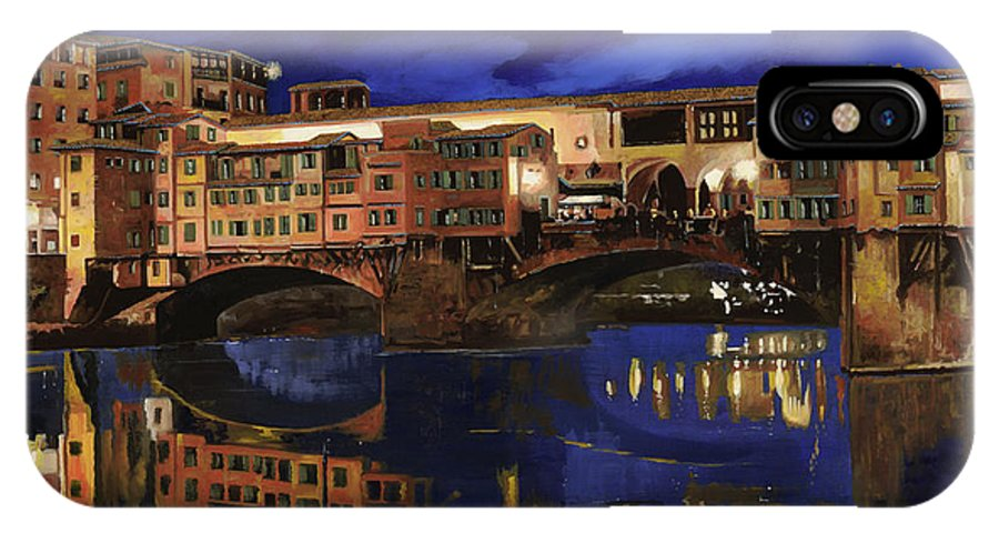 Firenze IPhone X / XS Case featuring the painting Notturno Fiorentino by Guido Borelli