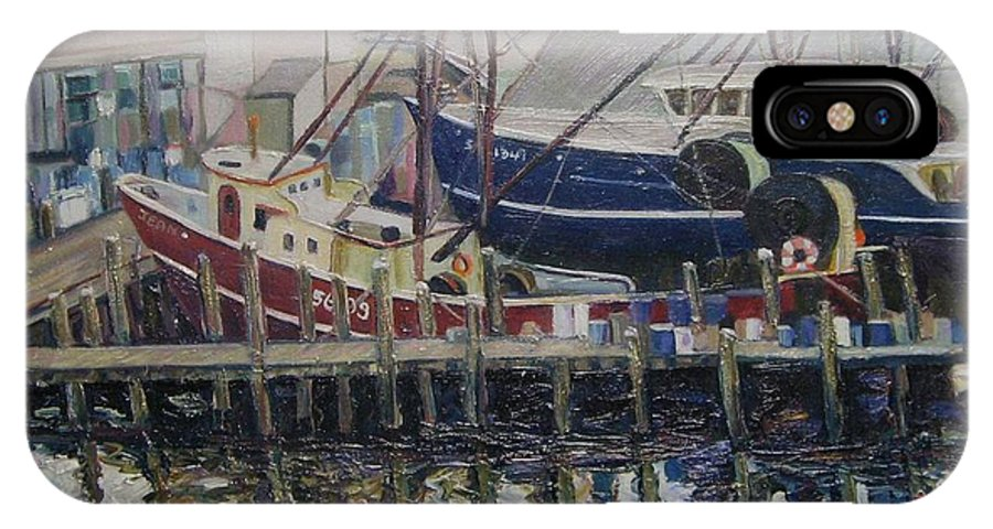 Boats IPhone X Case featuring the painting Nova Scotia Boats At Rest by Richard Nowak