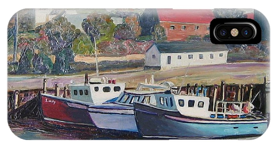 Nova Scotia IPhone Case featuring the painting Nova Scotia Boats by Richard Nowak
