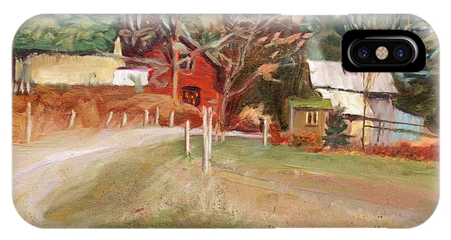 Landscape IPhone X Case featuring the painting November by Elena Sokolova
