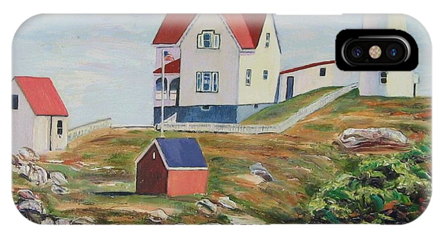 Nubble Light House IPhone Case featuring the painting Nubble Light House Maine by Richard Nowak