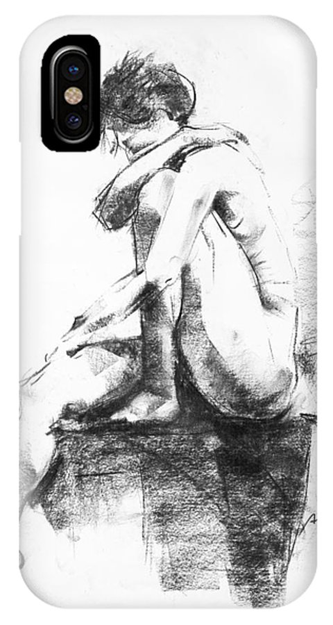 Nude IPhone X Case featuring the drawing Nude 11 by Ani Gallery