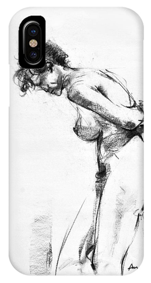 Nude IPhone X Case featuring the drawing Nude 2 by Ani Gallery