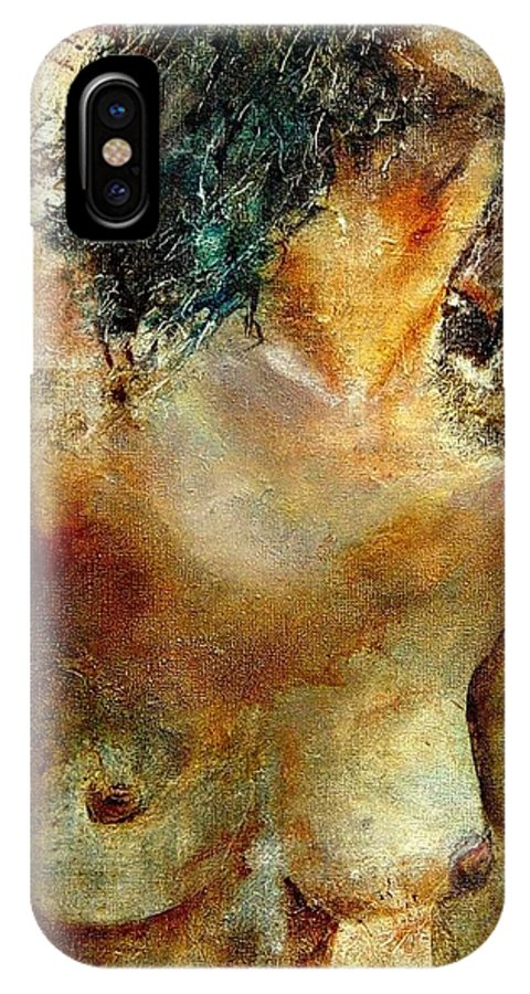Girl Nude IPhone X Case featuring the painting Nude 34 by Pol Ledent