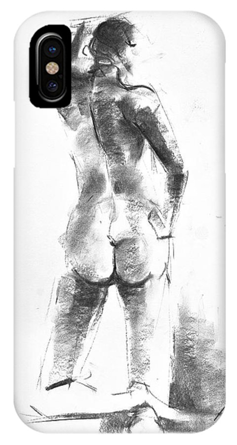 Nude IPhone X Case featuring the drawing Nude 44 by Ani Gallery