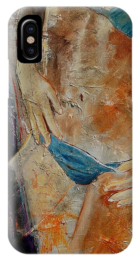 Girl Nude IPhone X Case featuring the painting Nude 450608 by Pol Ledent