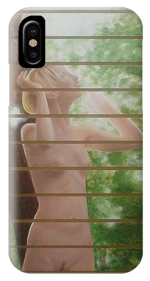 Realistic IPhone X Case featuring the painting Nude Forest by Angel Ortiz
