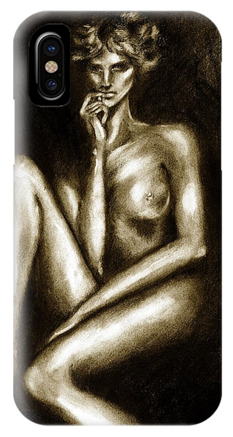 Nude IPhone X Case featuring the drawing Nude by Hiroko Sakai
