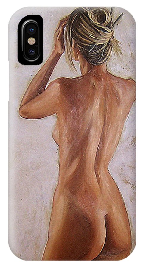 Nude IPhone Case featuring the painting Nude by Natalia Tejera