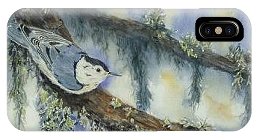 Nuthatch IPhone X / XS Case featuring the painting Nuthatch by Dolores Fegan