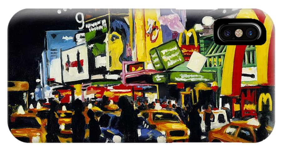 New York IPhone X Case featuring the painting Nyc II The Temple Of M by Robert Reeves