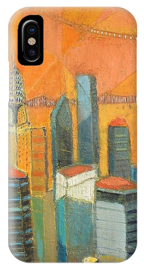 IPhone Case featuring the painting Nyc In Orange by Habib Ayat