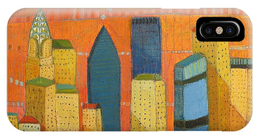 Abstract Cityscape IPhone X Case featuring the painting Nyc With Chrysler by Habib Ayat