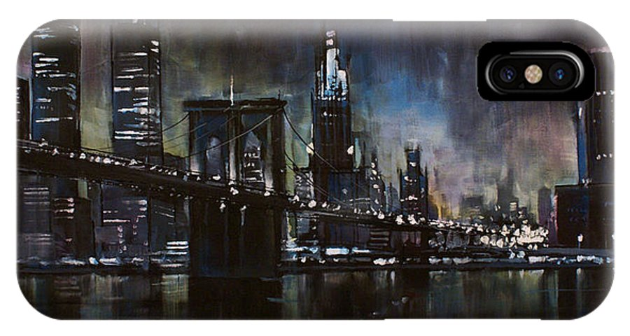 Cityscape IPhone X Case featuring the painting N.Y.City by Michael Lang
