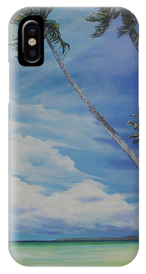 Trinidad And Tobago Seascape IPhone X Case featuring the painting Nylon Pool Tobago. by Karin Dawn Kelshall- Best