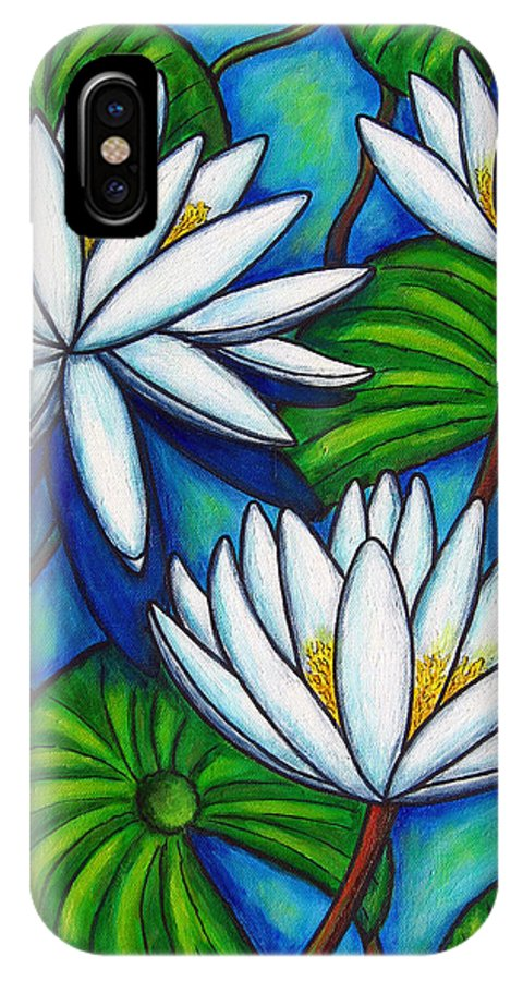 Lily IPhone X Case featuring the painting Nymphaea Blue by Lisa Lorenz