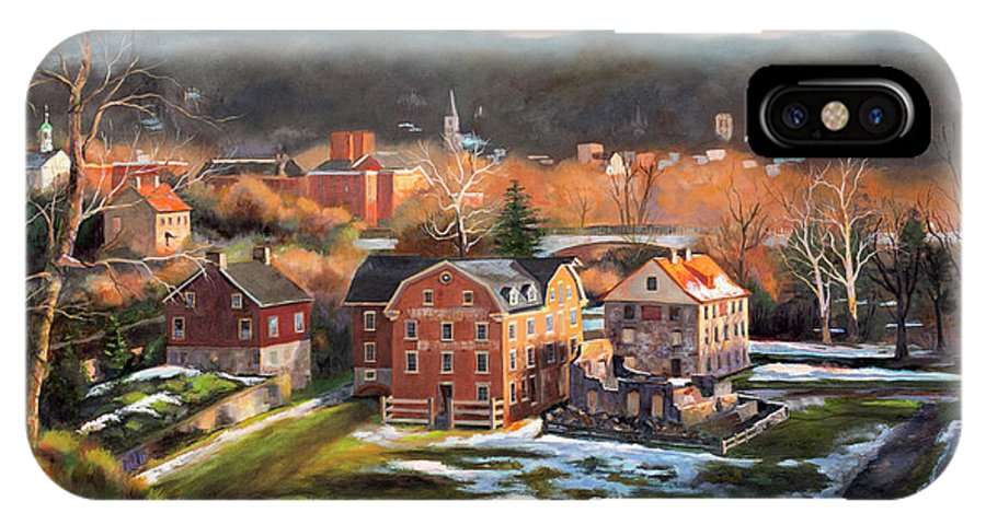 Diane Hutchinson IPhone X Case featuring the painting O, Little Town by Diane Hutchinson