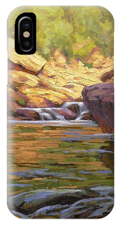 Water Scene IPhone Case featuring the painting Oak Creek Tributary by Cody DeLong