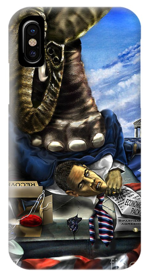 Political Satire Painting IPhone Case featuring the painting Obama by Reggie Duffie