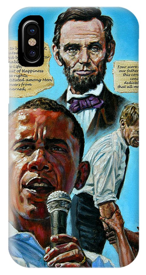 Obama IPhone X Case featuring the painting Obamas Heritage by John Lautermilch