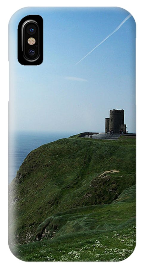 Irish IPhone X Case featuring the photograph O'Brien's Tower at the Cliffs of Moher Ireland by Teresa Mucha