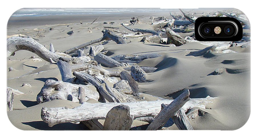 Driftwood IPhone X Case featuring the photograph Ocean Coastal art prints Driftwood Beach by Patti Baslee