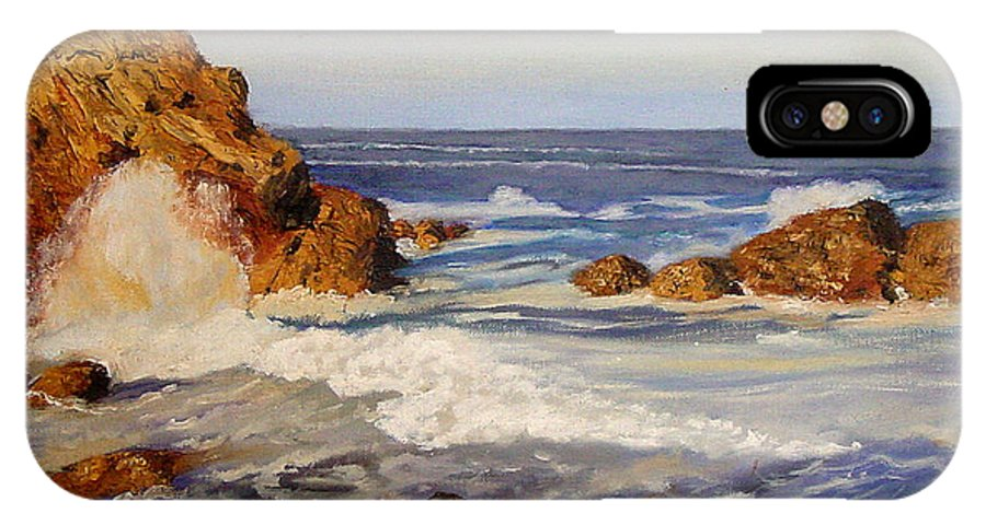Seascape IPhone X Case featuring the painting Ocean Rock by Quwatha Valentine