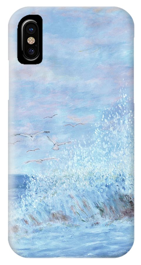 Gulls IPhone X Case featuring the painting Ocean Spray by Ben Kiger