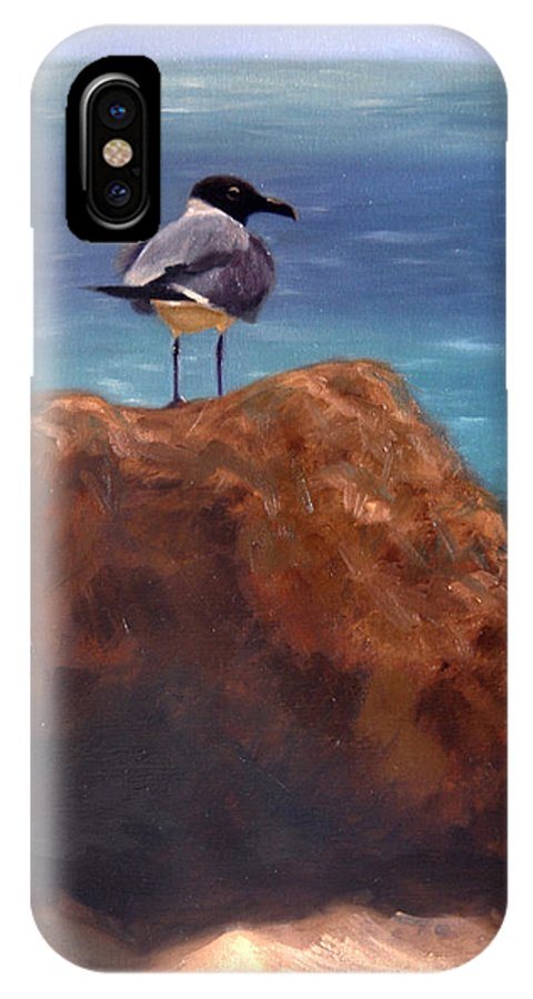Oil IPhone X Case featuring the painting Ocean View by Greg Neal