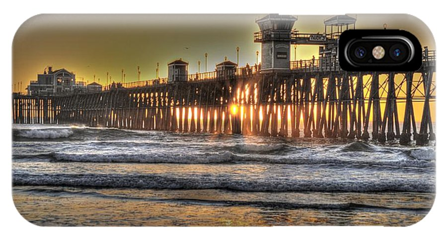 Hdr IPhone X Case featuring the photograph Oceanside Pier Hdr by Bridgette Gomes