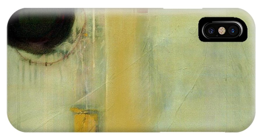 Abstract IPhone Case featuring the painting Ochre Wash Jump by Marlene Burns