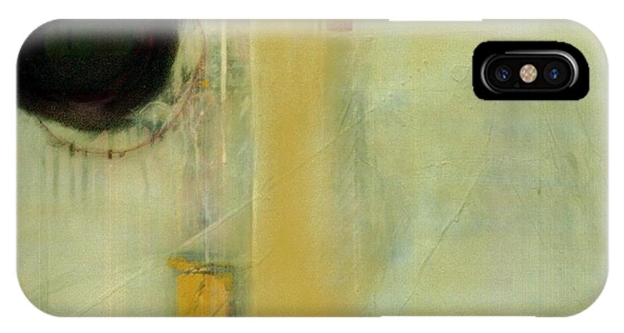 Abstract IPhone X Case featuring the painting Ochre Wash Jump by Marlene Burns