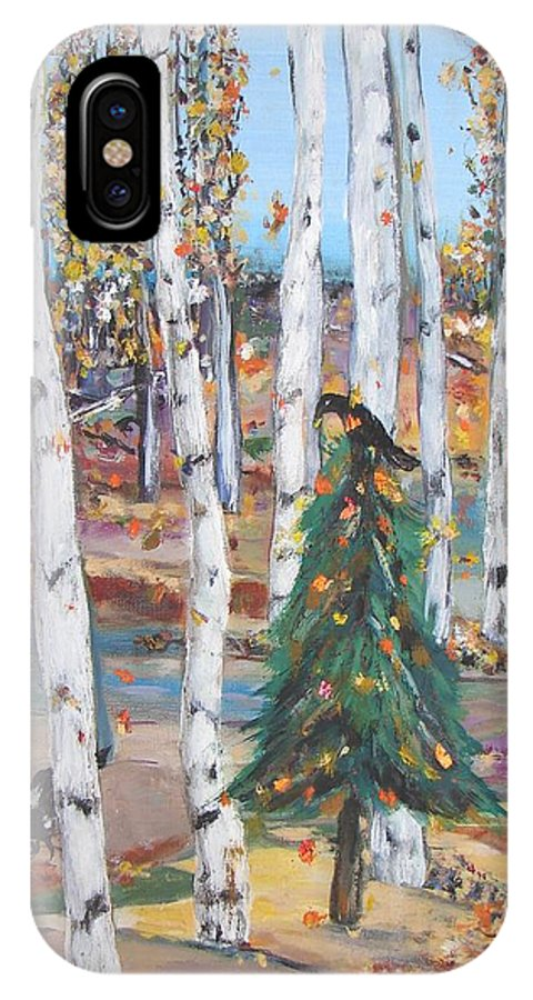 Fall Aspens With Lone Pine Tree Decorated With Gold Leaves And Two Crows IPhone Case featuring the painting October Christmas by Sarah Wharton White