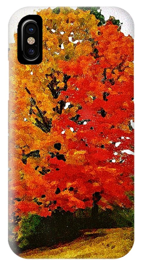 Tree IPhone X Case featuring the mixed media October Colors by MaryLee Parker